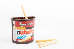 Nutella Sticks with sticks on the white table