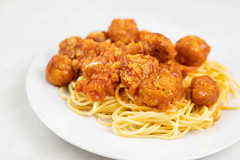 Chicken Meatballs served with Tomato Sauce and Spaghetti