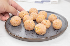 Raw Chicken Meatballs on the plate ready for frying