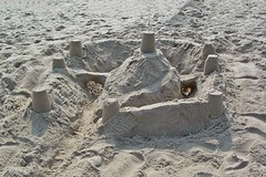 Sand castle with walls