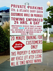 Parking sign at Dairy Queen