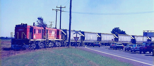 4872 & 4881 PROPELLING LOADED CLINKER WAGONS ACROSS CORMORANT ROAD TO BLUE CIRCLE CEMENT - KOORAGANG ISLAND .