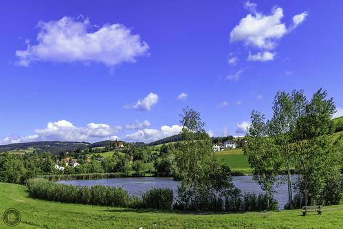 idyllic village pond in Krumbach Lower Austria