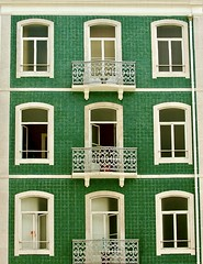 The impact of green tiles in a just restored building