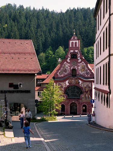 Füssen, looking towards the Church of the Holy Spirit,  May 1988