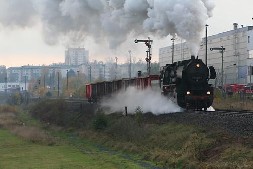 2008-10-31; 0024. Loc 52 8079-7 met WEG 32a. Leimbach. Plandampf 2008, Dampf trift Kies.