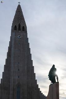 The Statue of Leif Eiriksson in front of Hallgrímskirkja