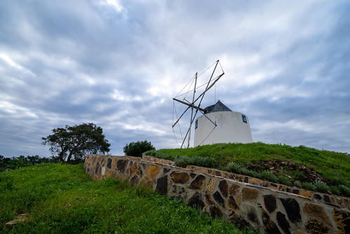 A traditional Portuguese windmill near the Algarve town of Odeceixe, Portugal