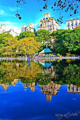 Reflections on Conservatory Water Lake Central Park Manhattan New York City NY P00587 DSC_1436
