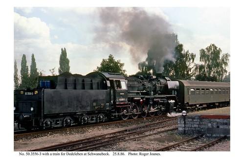 Schwanebeck. 50.3556-3 & train from Halberstadt to Dedeleben. 25.8.86