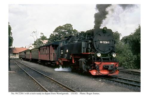Wernigerode. 99.7238-1 & train ready to depart. 13.8.83