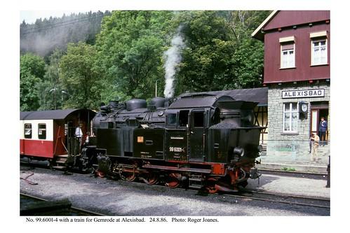 Alexisbad. 99.6001-4 & train for Gernrode. 24.8.86