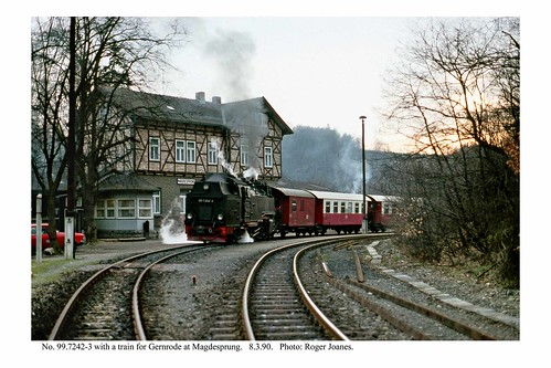 Magdesprung. 99.7242.3 & train for Gernrode. 8.3.90