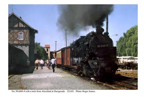 Harzgerode. 99.6001-4 & train just arrived. 15.8.83
