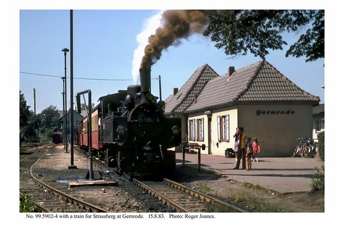 Gernrode. Loco 99.5902-4 & train ready to depart. 15.8.83
