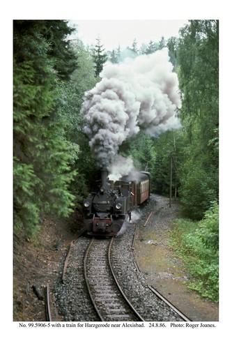 Alexisbad (near). 99.5906-5 & train for Harzgerode. 24.8.86