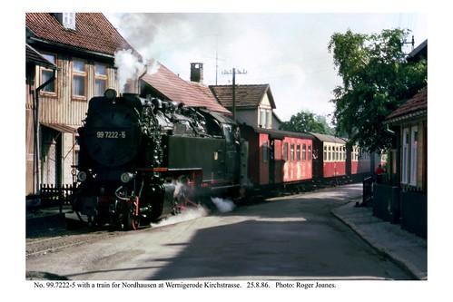 Wernigerode Kirchstrasse. 99.7222-5 & train for Nordhausen. 25.8.86