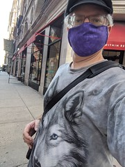 Selfie With Purple Mask and Wolf Shirt