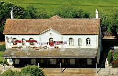 Train station seen from the top of Óbidos Castle