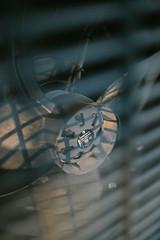 Closeup of dirty big fane for heat termal pump.