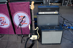 Fender presision bass on stage.
