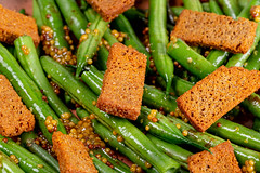 Close-up, salad with asparagus and rye rusks