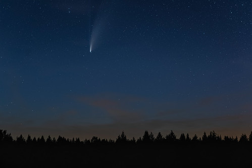 C/2020 F3 Neowise at late blue hour, Schwarzes Moor, Rhön