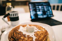 Breakfast pancakes with frozen custard