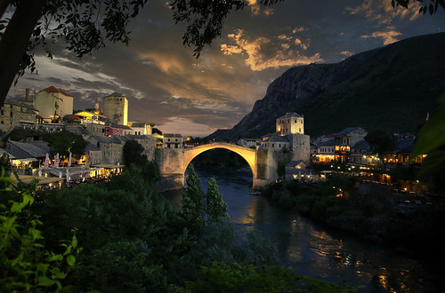 Twilight at the iconic Mostar bridge in Bosnia and Herzegovina