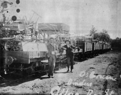 Train carrying agricultural machinery arriving at Allora Railway Station
