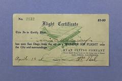 060704 DAN 001 Certificate Flight Certificate No. 2132 Ryan Flying Company San Diego California 5.00 Issued April 16 1925