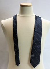 202027023 Necktie Airline DC-9 McDonnell Douglass tie Navy blue tie with thin whitegray diangonal stripes DC-9 embroidered in whitegray toward bottom Made by Lilli Dache polyester