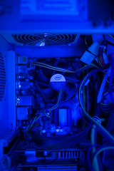Inside of the old pc case with intel stock cooler on cpu