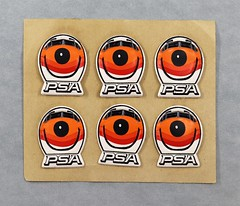 202027009 Stickers 10 2 sheets PSA puffy sticker Front of PSA smiling plane with PSA at bottom