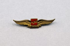092403 UNK 002 Wings 11 Western Airlines WAL childrens plastic souvenir wings Gold with red logo in center