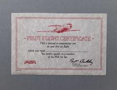 080403 WEN 004 Certificate PSA First Flight Certificate First jet flight name blank Date 1985