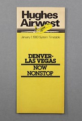 88.79.E Brochure schedule Hughes Airwest System Timetable Denver-Las Vegas Nonstop Date January 1 1980 Yellow with black and white