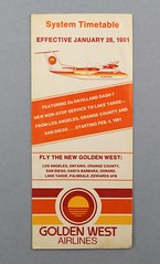 88.79.C Brochure schedule Golden West Airlines System Timetable Featuring De HAvilland Dash 7 Date effective January 28 1981 White with red orange yellow designs