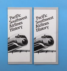 120312 NAP 004 Brochures 5 Pacific Southwest Airlines History Pamplet with a detailed history of PSA airlines from 1949-1986 White with gray border black and white plane on front