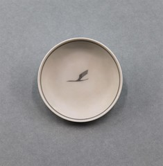 040302 SIM 024 Small dish Lufthansa Small white porcelain bowl with gray border and Lufthansa logo in gray in center Made by Rosenthal Germany on back