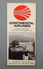 88.80.C Brochure schedule Continental Airlines System Timetable Date effective September 13 1976 White with red Contiental logo and bw photo of couple in San Diego