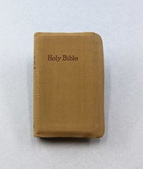 83.155.E Bible King James Version Old and New Testaments Inscribed on front page to Lt. Francis O. Smith USAAF for Easter March 21 1944 Tan cover orange tip pages