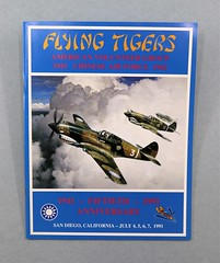 81.41.D Booklet Flying Tigers American Volunteer Group AVG Fiftieth Anniversary Reunion 1991 San Diego CA July 4-7 1991 Blue booklet with image of painting of Warhawks