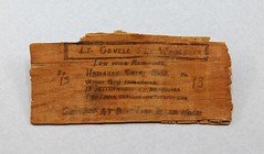 22.35.C Piece of wood from the wing of monoplane in Dole Hawaii Air Race Entry #13 Crashed at Point Loma CA on 8-10-29 Lieuts. George Covell and R. S. Waggener U. S. N. were killed in the crash