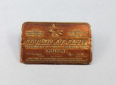 17.69.D Ticket 1949 National Air Races Guest Pass Cleveland Ohio 40th Anniversary 1909-1949 Copper colored ticket with parking passes attached to back