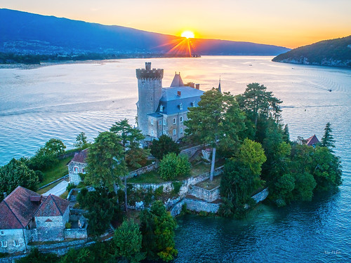 Castle on the lake by sunset