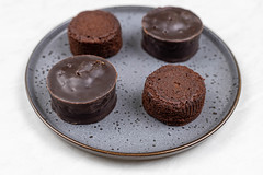 Chocolate Muffins served on the round fancy plate