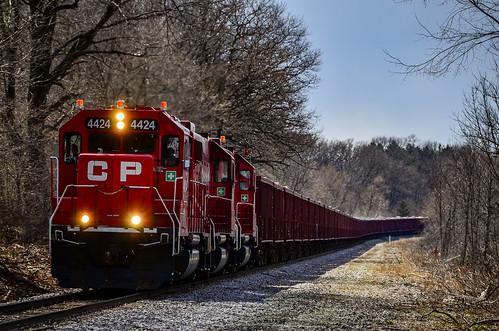 CP ballast train crawling up to Nashotah