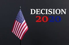 American flag with Decision 2020 text