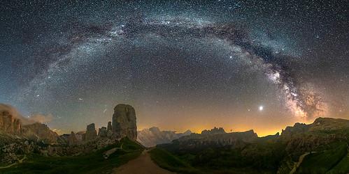 The Milky way Arch above cinque Torri